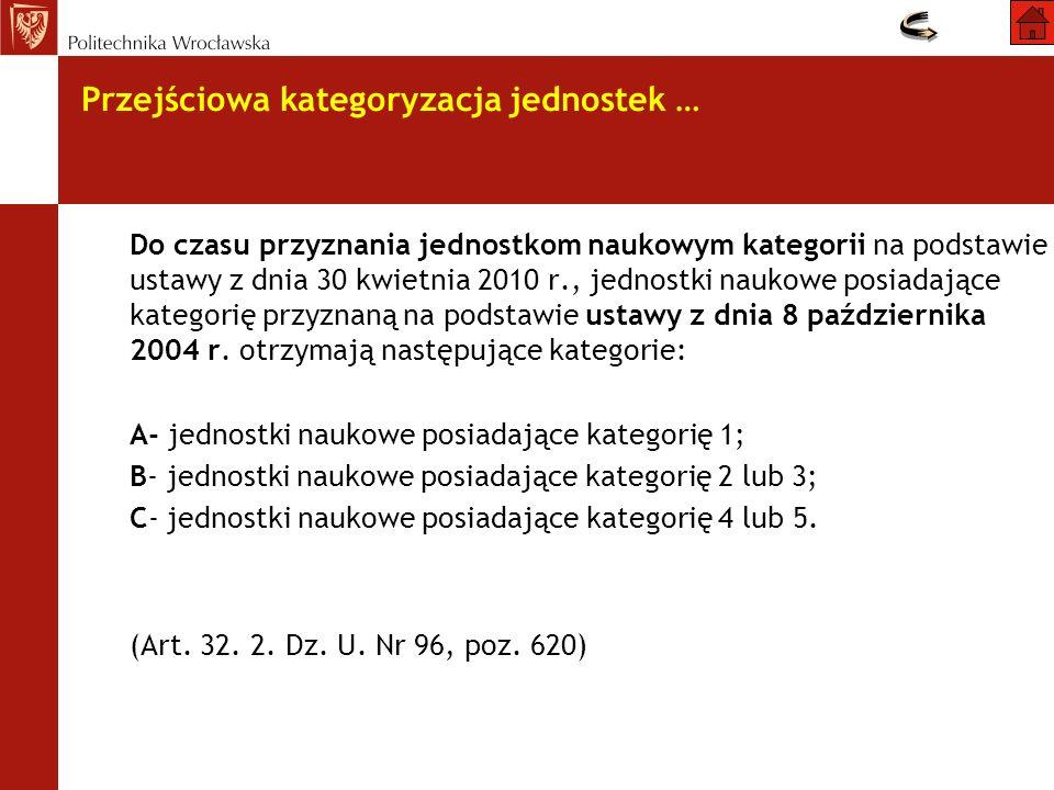 Do czasu przyznania jednostkom naukowym kategorii na podstawie ustawy z dnia 30 kwietnia 2010 r., jednostki naukowe posiadające kategorię przyznaną na