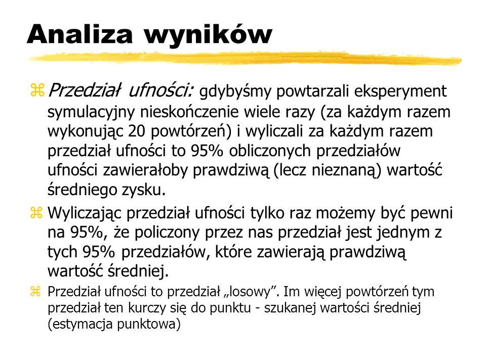 Analiza wyników zPrzedział predykcji: przy każdym powtórzonym eksperymencie (t.j.