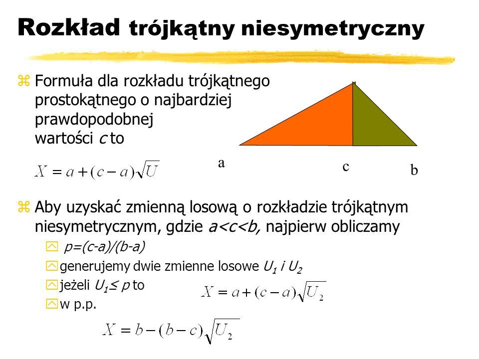 Rozkład trójkątny niesymetryczny zFormuła dla rozkładu trójkątnego prostokątnego o najbardziej prawdopodobnej wartości c to zAby uzyskać zmienną losow
