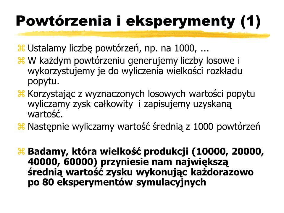 Powtórzenia i eksperymenty (1) zUstalamy liczbę powtórzeń, np. na 1000,... zW każdym powtórzeniu generujemy liczby losowe i wykorzystujemy je do wylic