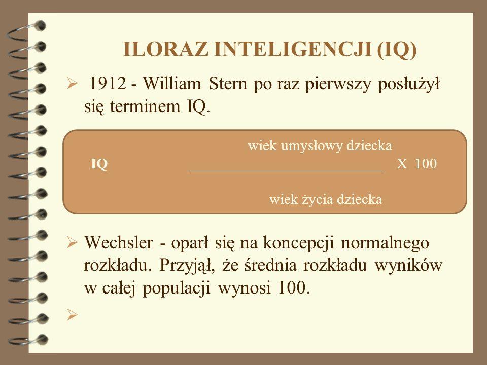 ILORAZ INTELIGENCJI (IQ) 1912 - William Stern po raz pierwszy posłużył się terminem IQ. Wechsler - oparł się na koncepcji normalnego rozkładu. Przyjął