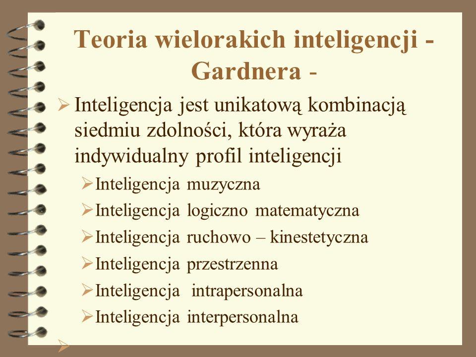 Teoria wielorakich inteligencji - Gardnera - Inteligencja jest unikatową kombinacją siedmiu zdolności, która wyraża indywidualny profil inteligencji I