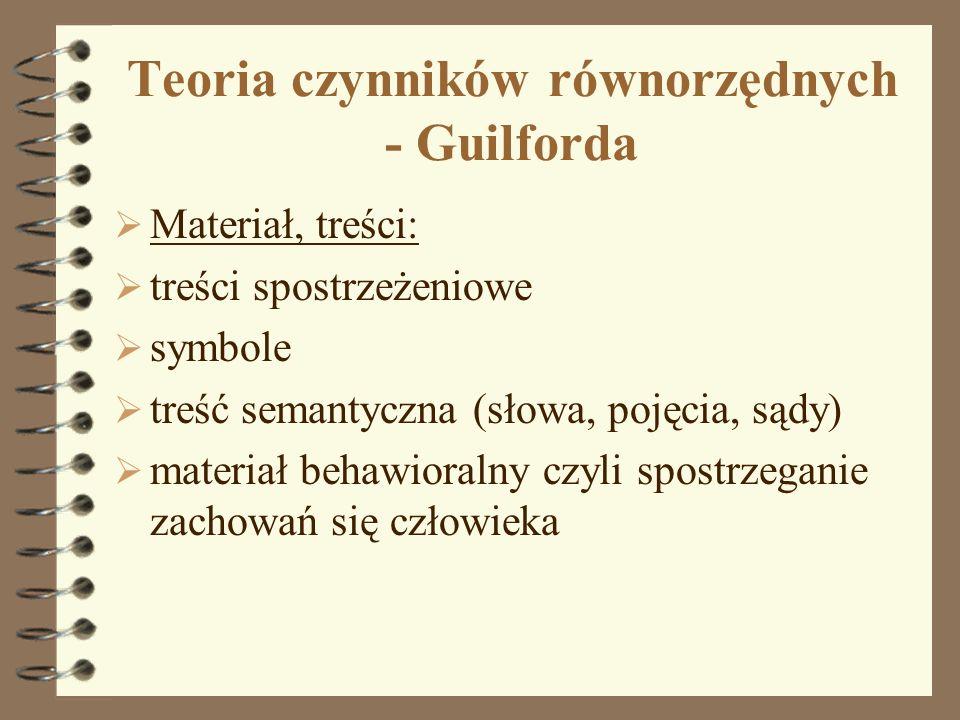 Teoria czynników równorzędnych - Guilforda Materiał, treści: treści spostrzeżeniowe symbole treść semantyczna (słowa, pojęcia, sądy) materiał behawior