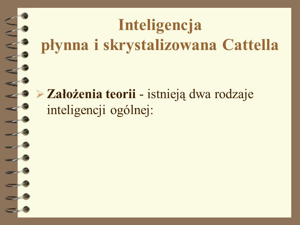 Inteligencja płynna i skrystalizowana Cattella Założenia teorii - istnieją dwa rodzaje inteligencji ogólnej: 18
