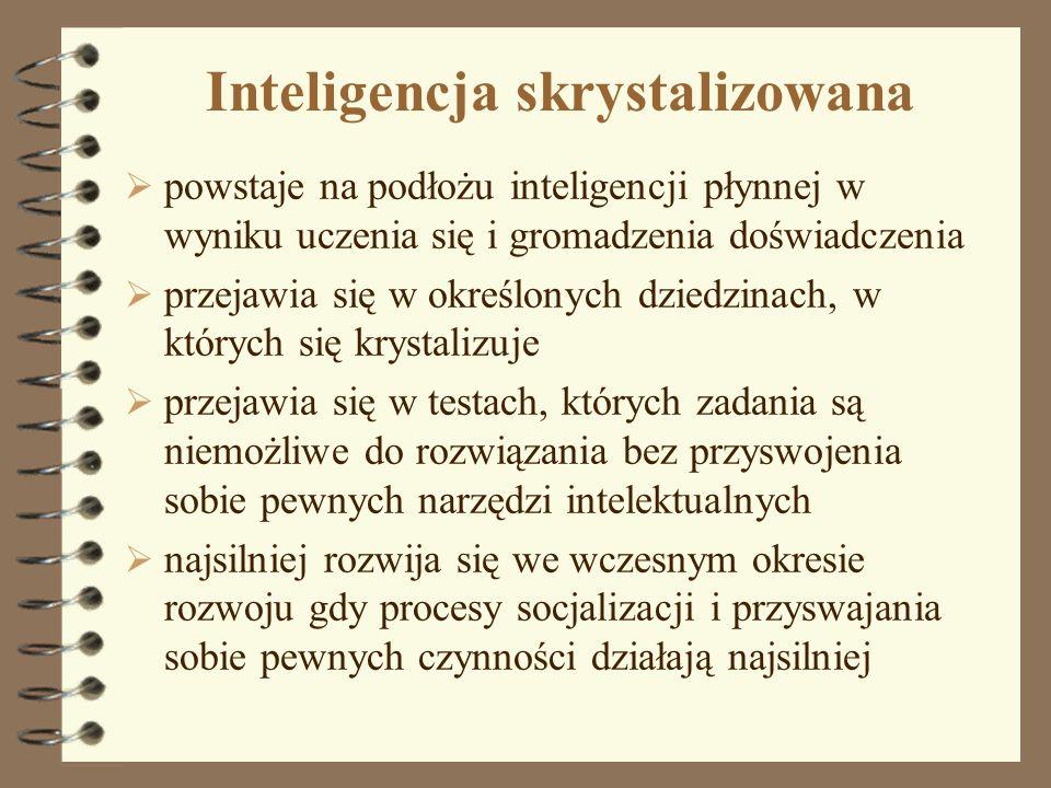 Inteligencja skrystalizowana powstaje na podłożu inteligencji płynnej w wyniku uczenia się i gromadzenia doświadczenia przejawia się w określonych dzi
