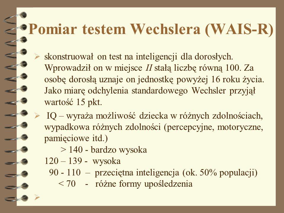 Pomiar testem Wechslera (WAIS-R) skonstruował on test na inteligencji dla dorosłych. Wprowadził on w miejsce II stałą liczbę równą 100. Za osobę doros
