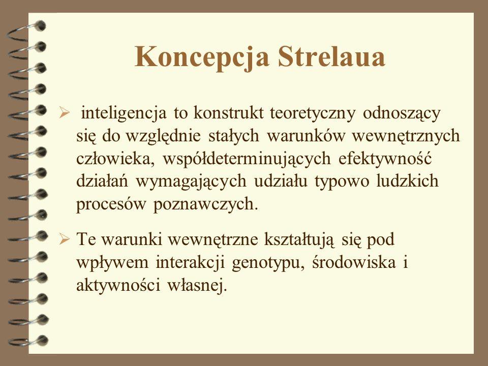 Koncepcja Strelaua inteligencja to konstrukt teoretyczny odnoszący się do względnie stałych warunków wewnętrznych człowieka, współdeterminujących efek