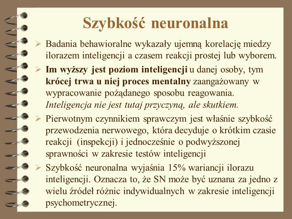 Szybkość neuronalna Badania behawioralne wykazały ujemną korelację miedzy ilorazem inteligencji a czasem reakcji prostej lub wyborem. Im wyższy jest p