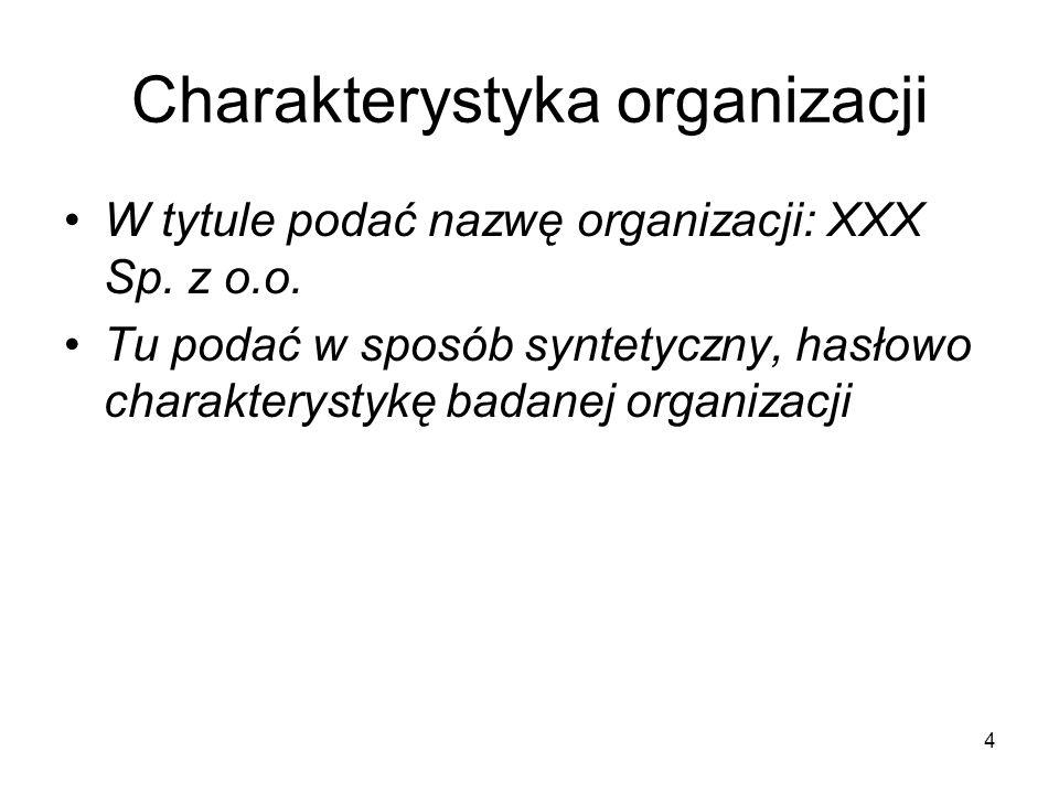 Charakterystyka organizacji W tytule podać nazwę organizacji: XXX Sp. z o.o. Tu podać w sposób syntetyczny, hasłowo charakterystykę badanej organizacj