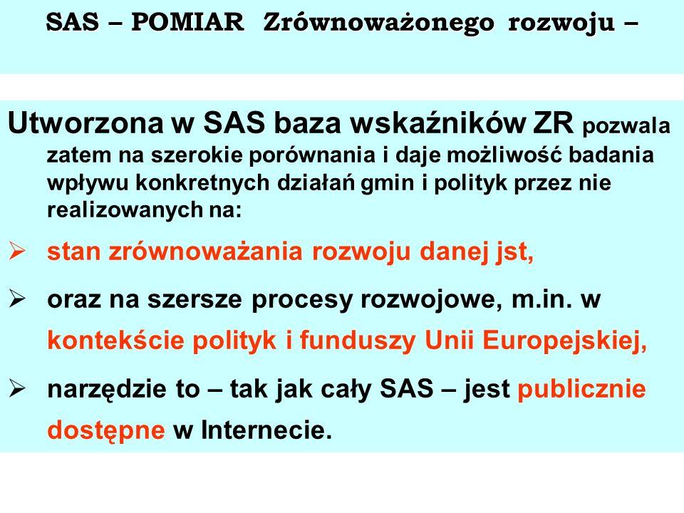 SAS – POMIAR Zrównoważonego rozwoju – Utworzona w SAS baza wskaźników ZR pozwala zatem na szerokie porównania i daje możliwość badania wpływu konkretn