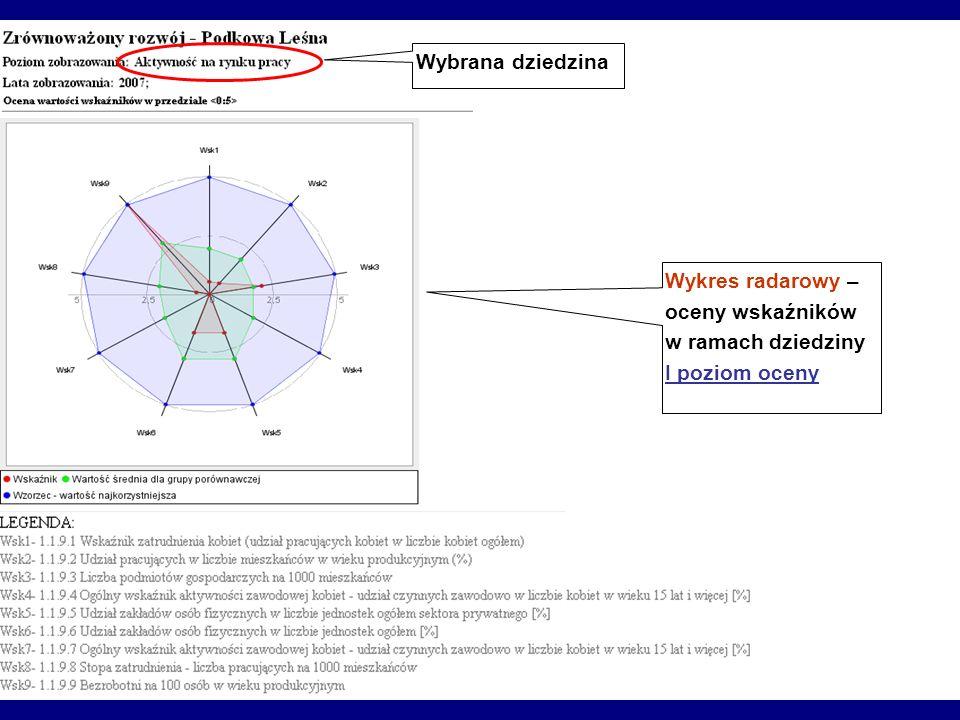 Wykres radarowy – oceny wskaźników w ramach dziedziny I poziom oceny Wybrana dziedzina
