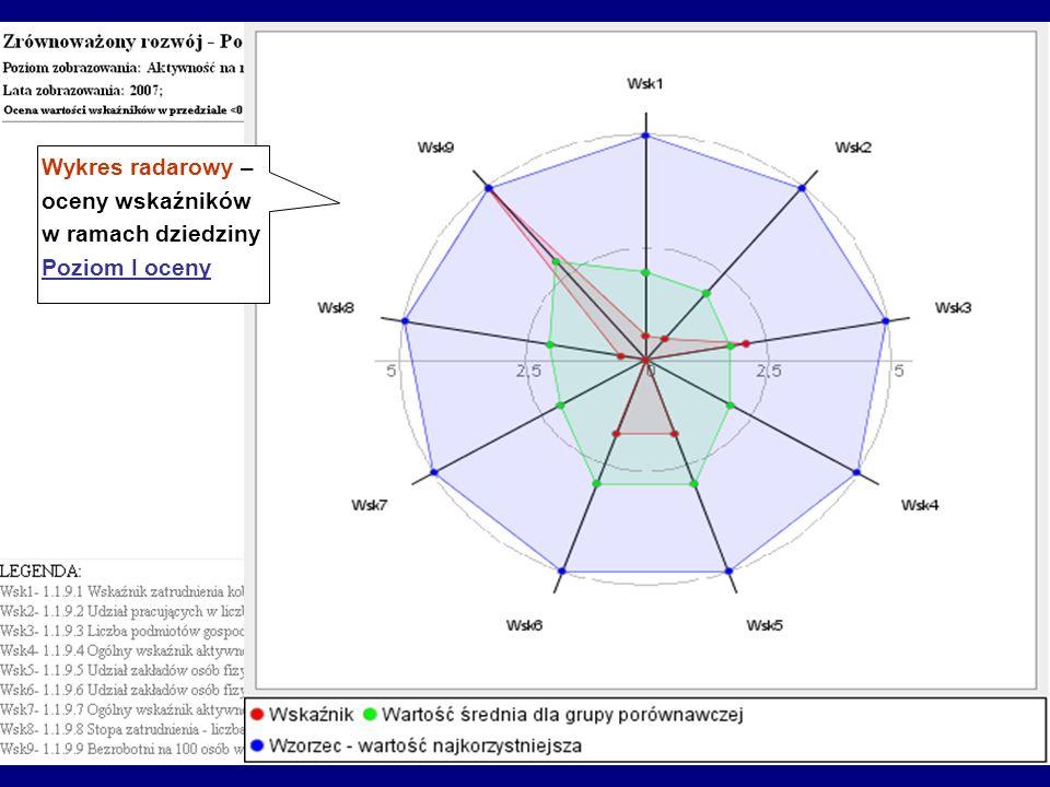 Wykres radarowy – oceny wskaźników w ramach dziedziny Poziom I oceny
