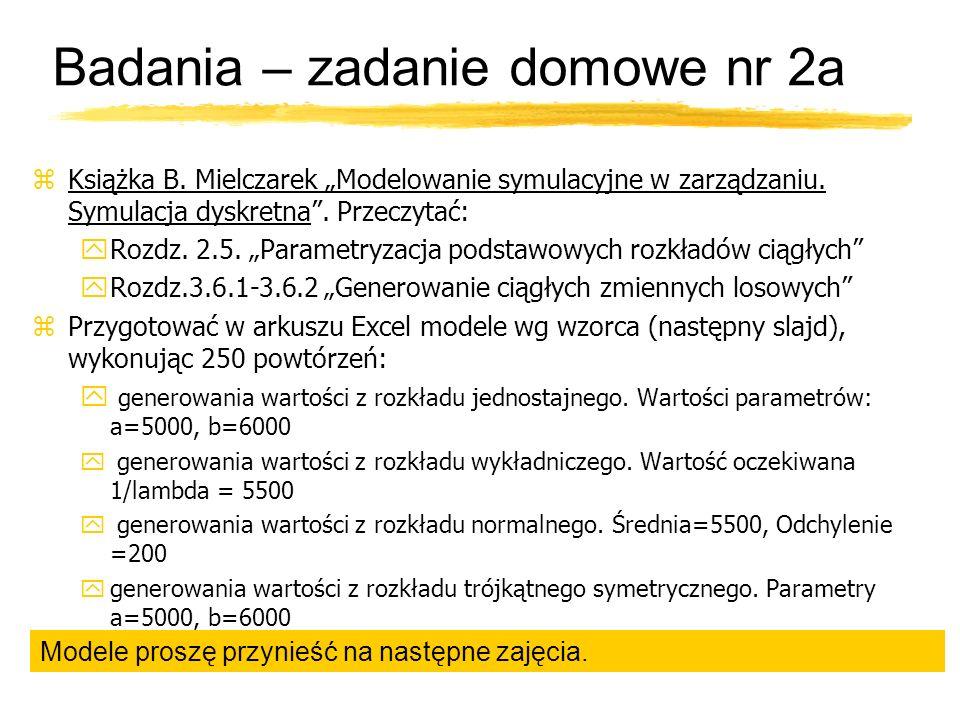 Badania – zadanie domowe nr 2a zKsiążka B.Mielczarek Modelowanie symulacyjne w zarządzaniu.