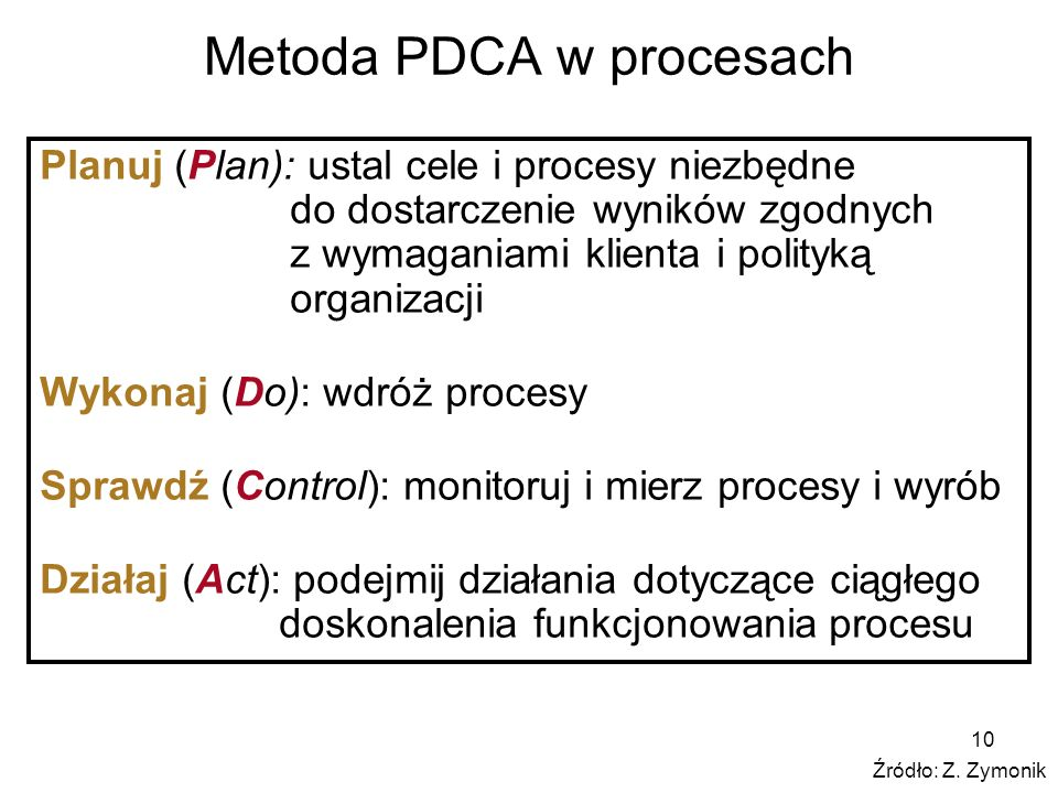 10 Metoda PDCA w procesach Planuj (Plan): ustal cele i procesy niezbędne do dostarczenie wyników zgodnych z wymaganiami klienta i polityką organizacji