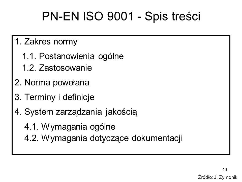 11 PN-EN ISO 9001 - Spis treści 1. Zakres normy 1.1. Postanowienia ogólne 1.2. Zastosowanie 2. Norma powołana 3. Terminy i definicje 4. System zarządz