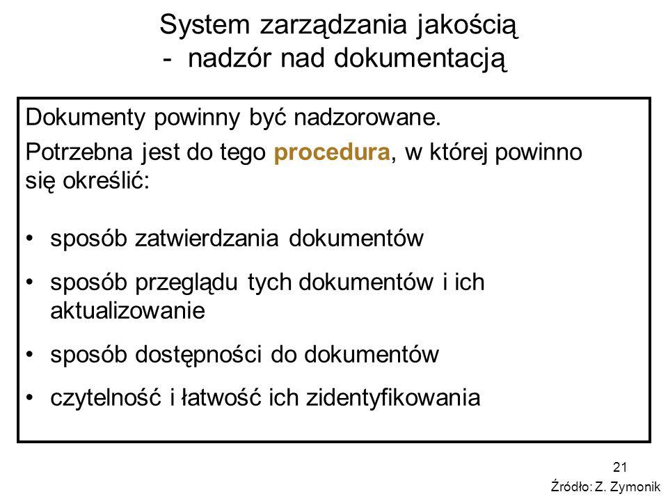 21 System zarządzania jakością - nadzór nad dokumentacją Dokumenty powinny być nadzorowane. Potrzebna jest do tego procedura, w której powinno się okr