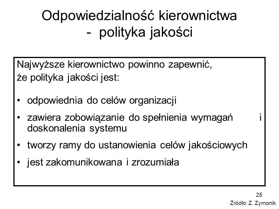 25 Odpowiedzialność kierownictwa - polityka jakości Najwyższe kierownictwo powinno zapewnić, że polityka jakości jest: odpowiednia do celów organizacj
