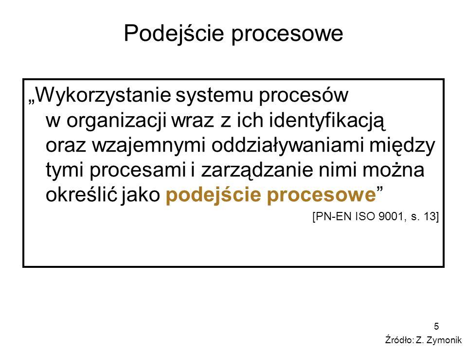 5 Podejście procesowe Wykorzystanie systemu procesów w organizacji wraz z ich identyfikacją oraz wzajemnymi oddziaływaniami między tymi procesami i za