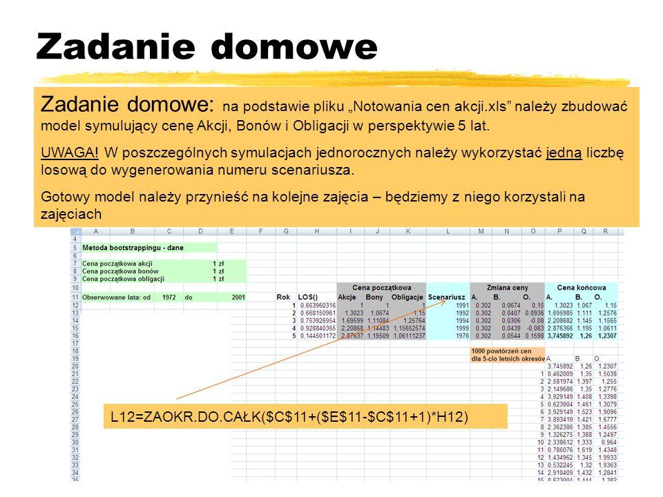 Zadanie domowe Zadanie domowe: na podstawie pliku Notowania cen akcji.xls należy zbudować model symulujący cenę Akcji, Bonów i Obligacji w perspektywi