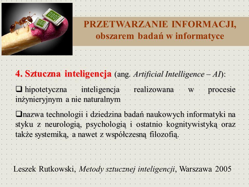 4. Sztuczna inteligencja (ang. Artificial Intelligence – AI): hipotetyczna inteligencja realizowana w procesie inżynieryjnym a nie naturalnym hipotety