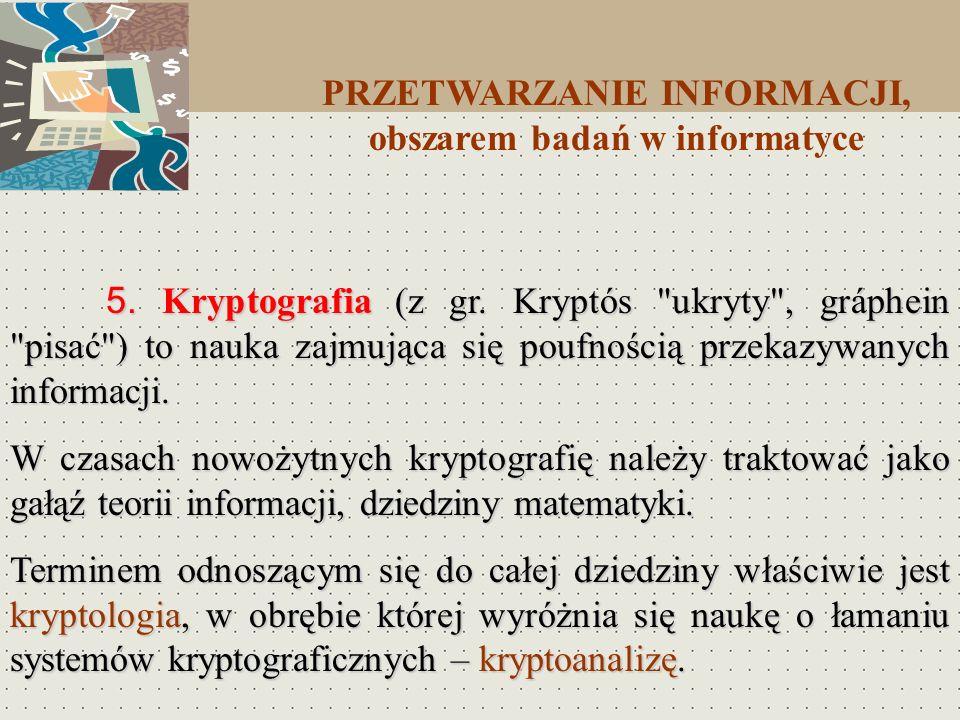 5. Kryptografia (z gr. Kryptós