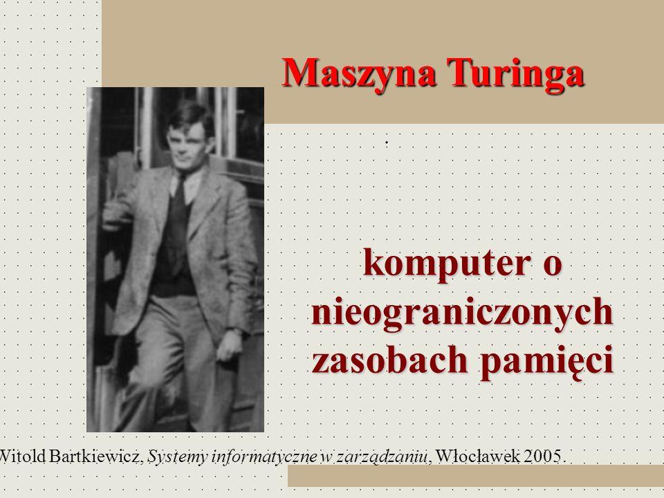 Maszyna Turinga Maszyna Turinga. komputer o nieograniczonych zasobach pamięci komputer o nieograniczonych zasobach pamięci Witold Bartkiewicz, Systemy