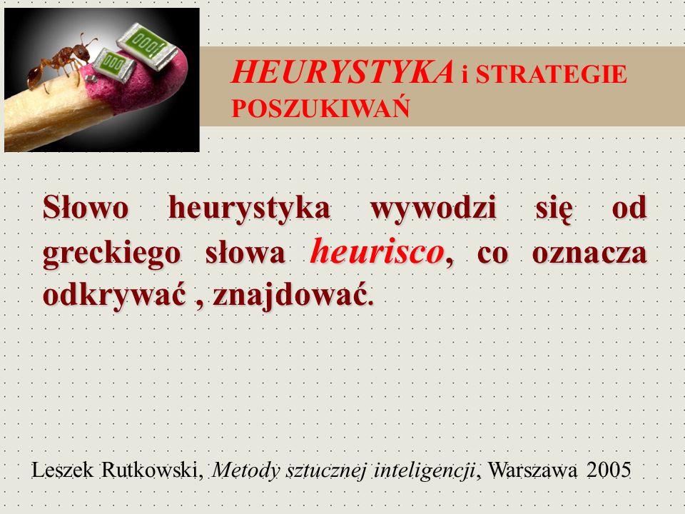 Słowo heurystyka wywodzi się od greckiego słowa heurisco, co oznacza odkrywać, znajdować. HEURYSTYKA i STRATEGIE POSZUKIWAŃ Leszek Rutkowski, Metody s