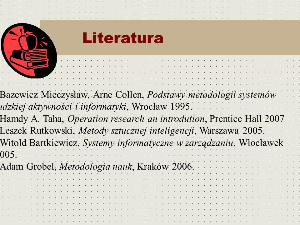 Literatura Bazewicz Mieczysław, Arne Collen, Podstawy metodologii systemów ludzkiej aktywności i informatyki, Wrocław 1995. Hamdy A. Taha, Operation r