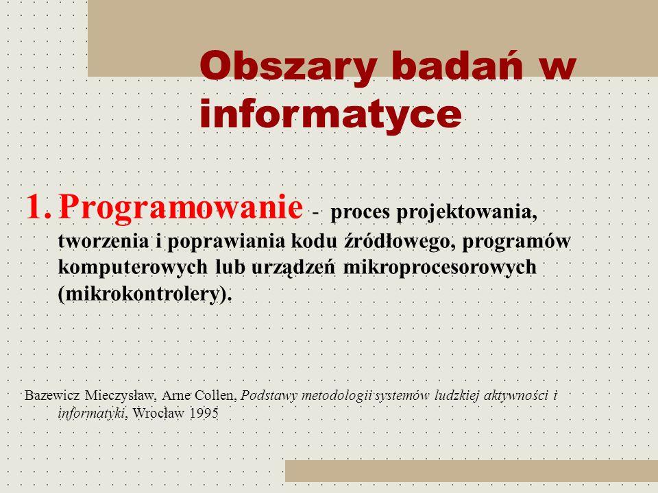 Obszary badań w informatyce 1.Programowanie - proces projektowania, tworzenia i poprawiania kodu źródłowego, programów komputerowych lub urządzeń mikr