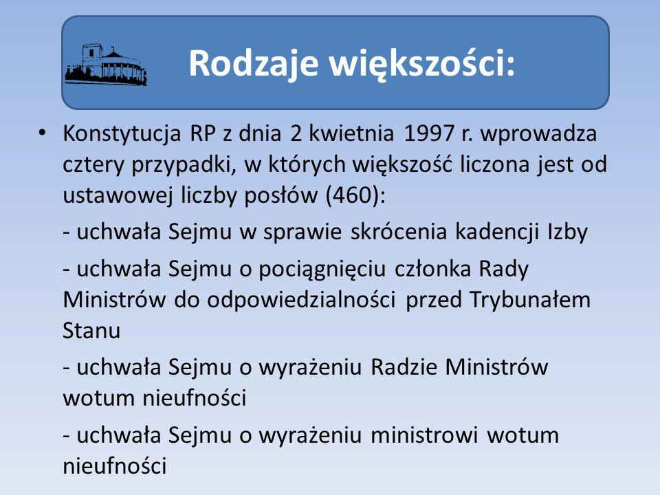 Rodzaje większości: Konstytucja RP z dnia 2 kwietnia 1997 r. wprowadza cztery przypadki, w których większość liczona jest od ustawowej liczby posłów (