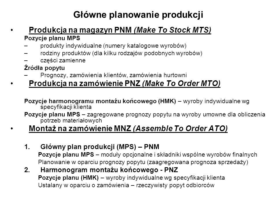 Produkcja na magazyn PNM (Make To Stock MTS) Pozycje planu MPS –produkty indywidualne (numery katalogowe wyrobów) –rodziny produktów (dla kilku rodzaj