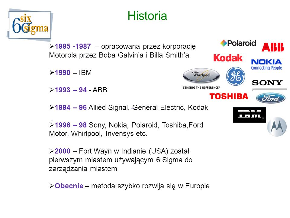 Historia 1985 -1987 – opracowana przez korporację Motorola przez Boba Galvina i Billa Smitha 1990 – IBM 1993 – 94 - ABB 1994 – 96 Allied Signal, General Electric, Kodak 1996 – 98 Sony, Nokia, Polaroid, Toshiba,Ford Motor, Whirlpool, Invensys etc.