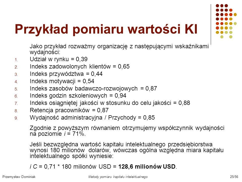 Przykład pomiaru wartości KI Jako przykład rozważmy organizację z następującymi wskaźnikami wydajności: 1. Udział w rynku = 0,39 2. Indeks zadowolonyc