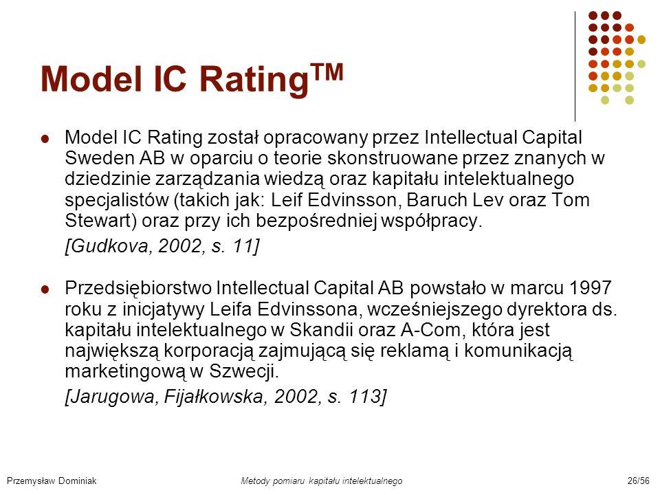 Model IC Rating TM Model IC Rating został opracowany przez Intellectual Capital Sweden AB w oparciu o teorie skonstruowane przez znanych w dziedzinie