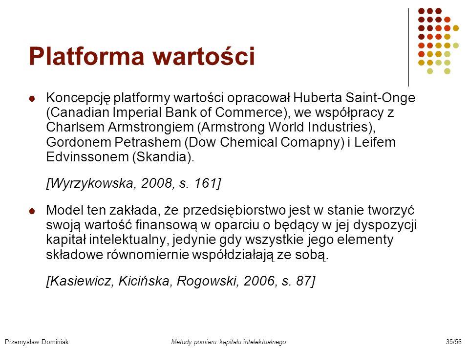 Platforma wartości Koncepcję platformy wartości opracował Huberta Saint-Onge (Canadian Imperial Bank of Commerce), we współpracy z Charlsem Armstrongi