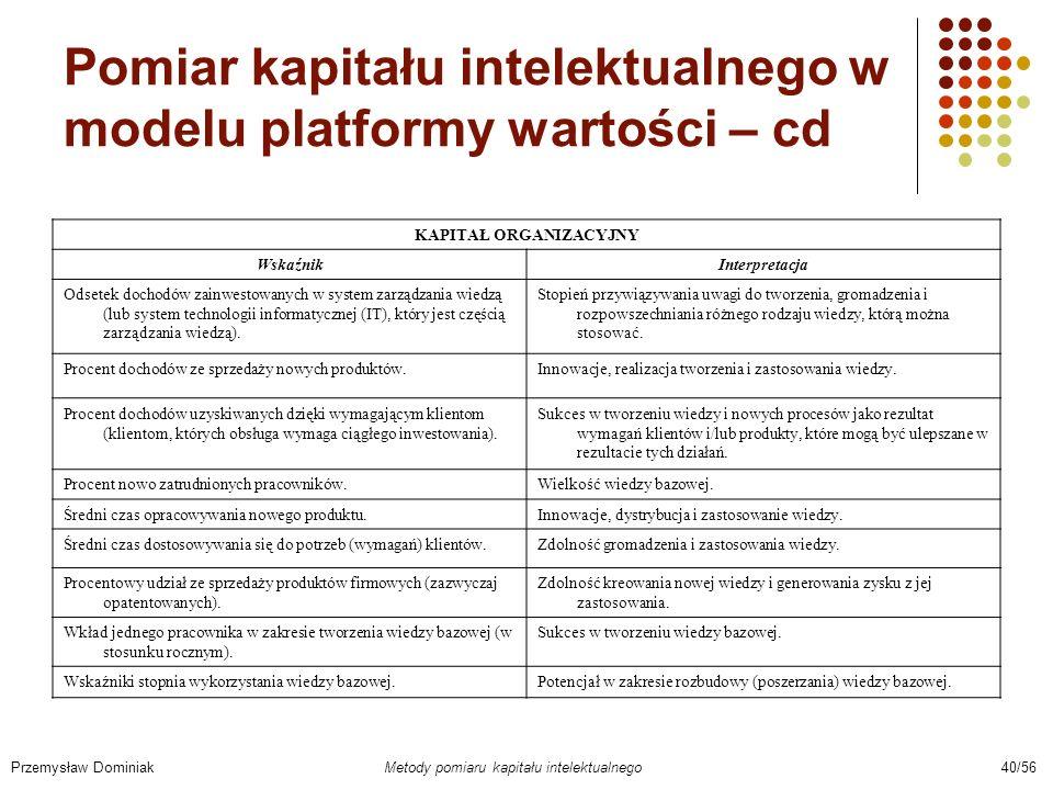 Pomiar kapitału intelektualnego w modelu platformy wartości – cd Przemysław Dominiak Metody pomiaru kapitału intelektualnego 40/56 KAPITAŁ ORGANIZACYJ