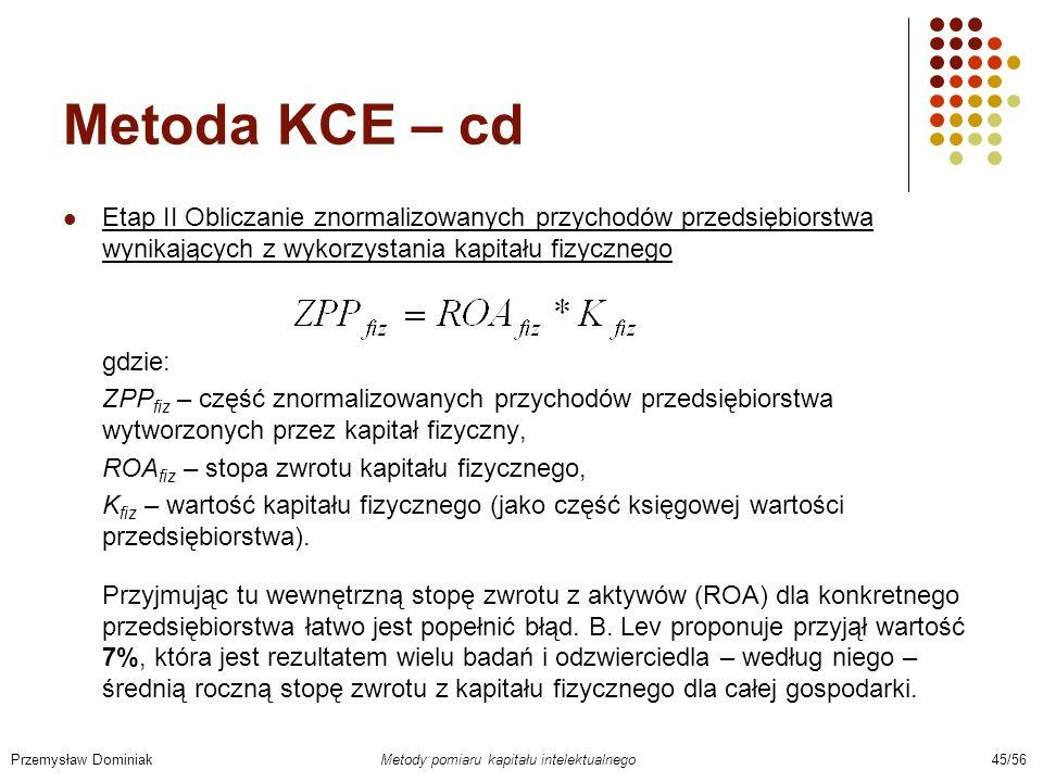 Metoda KCE – cd Etap II Obliczanie znormalizowanych przychodów przedsiębiorstwa wynikających z wykorzystania kapitału fizycznego gdzie: ZPP fiz – częś