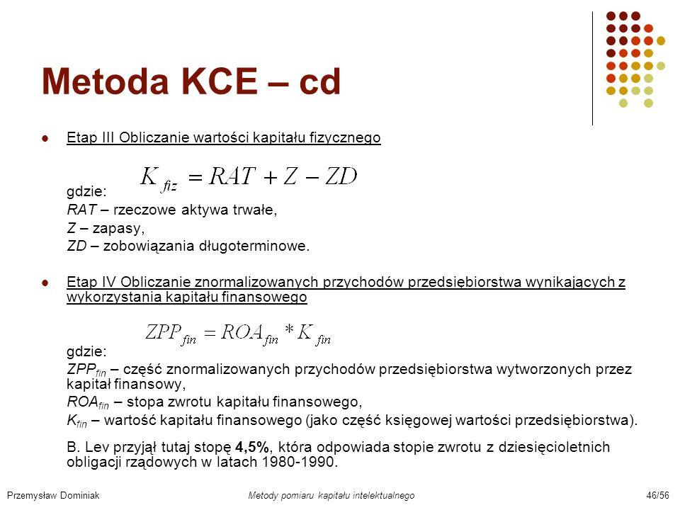 Metoda KCE – cd Etap III Obliczanie wartości kapitału fizycznego gdzie: RAT – rzeczowe aktywa trwałe, Z – zapasy, ZD – zobowiązania długoterminowe. Et