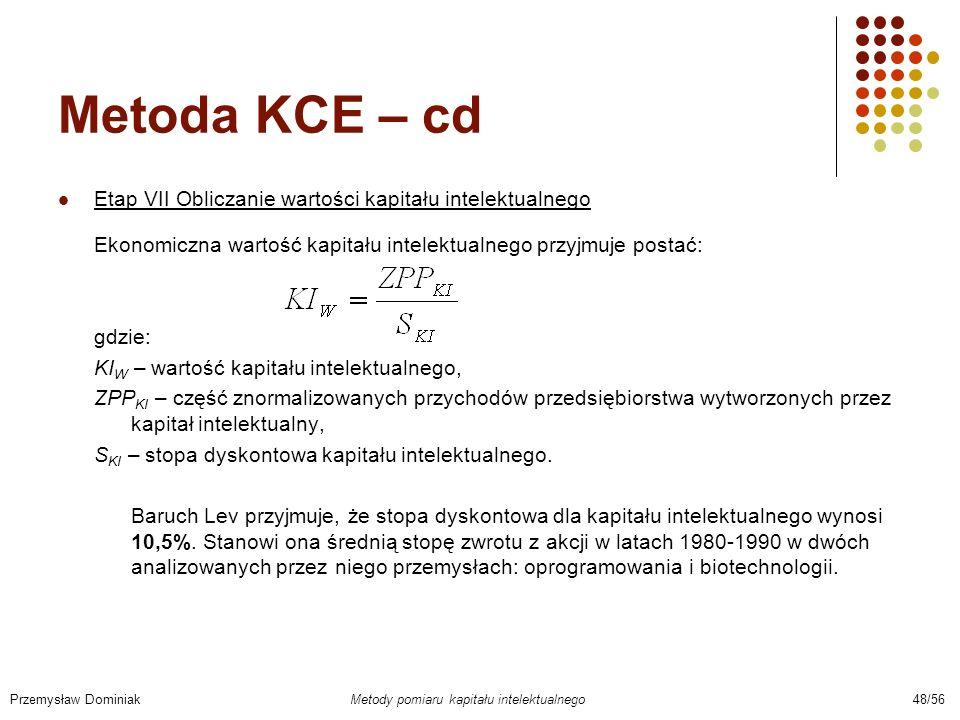 Metoda KCE – cd Etap VII Obliczanie wartości kapitału intelektualnego Ekonomiczna wartość kapitału intelektualnego przyjmuje postać: gdzie: KI W – war