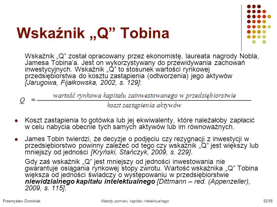 Wskaźnik Q Tobina Wskaźnik Q został opracowany przez ekonomistę, laureata nagrody Nobla, Jamesa Tobinaa. Jest on wykorzystywany do przewidywania zacho