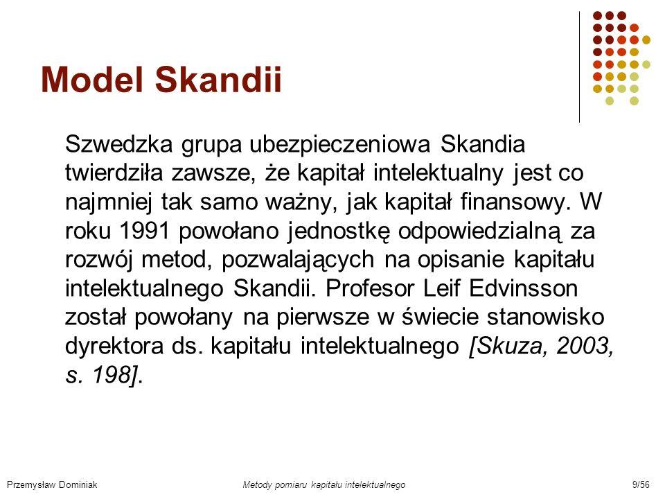 Schemat wartości rynkowej Skandii Przemysław Dominiak Metody pomiaru kapitału intelektualnego 10/56 Źródło: [Jarugowa, Fijałkowska, 2002, s.