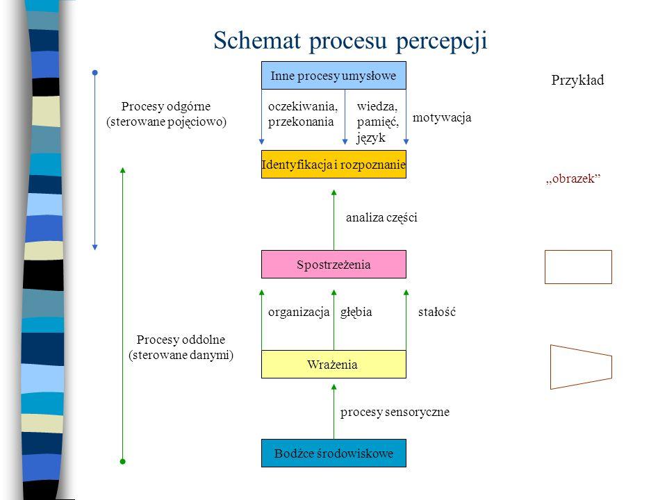 Schemat procesu percepcji Inne procesy umysłowe Identyfikacja i rozpoznanie Spostrzeżenia Wrażenia Bodźce środowiskowe oczekiwania, przekonania wiedza