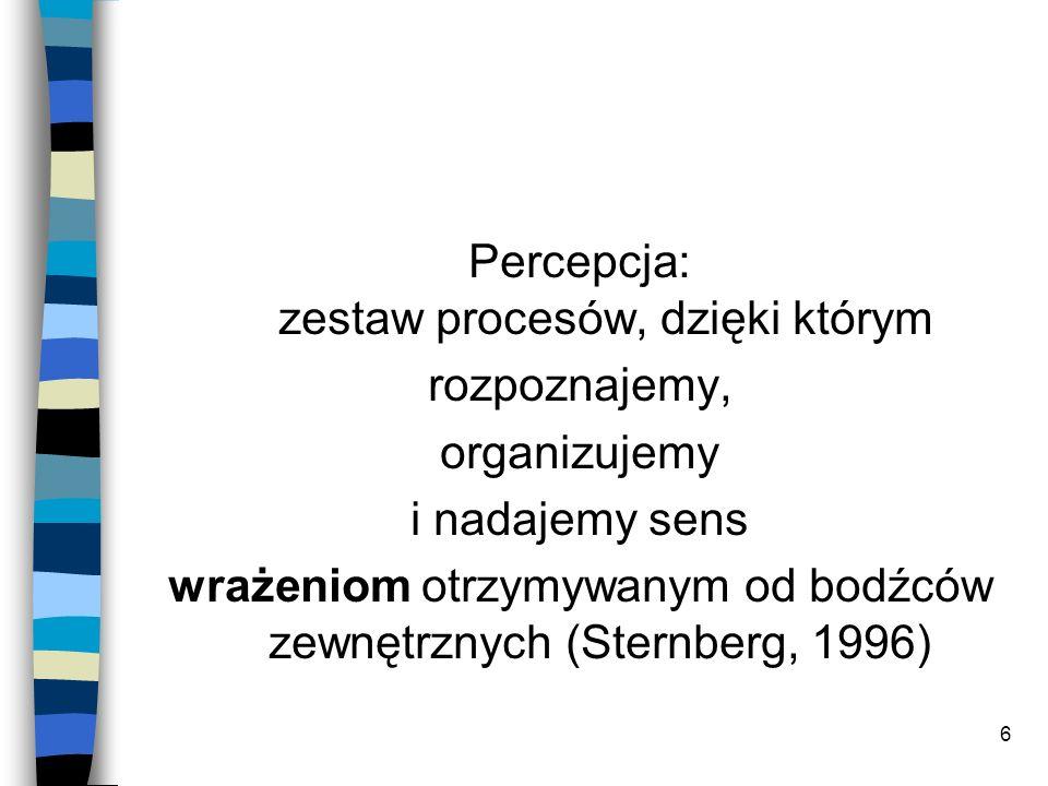 6 Percepcja: zestaw procesów, dzięki którym rozpoznajemy, organizujemy i nadajemy sens wrażeniom otrzymywanym od bodźców zewnętrznych (Sternberg, 1996