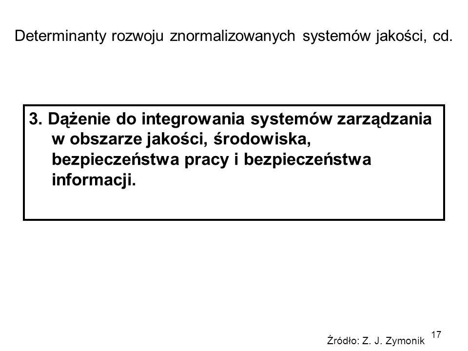 17 3. Dążenie do integrowania systemów zarządzania w obszarze jakości, środowiska, bezpieczeństwa pracy i bezpieczeństwa informacji. Determinanty rozw