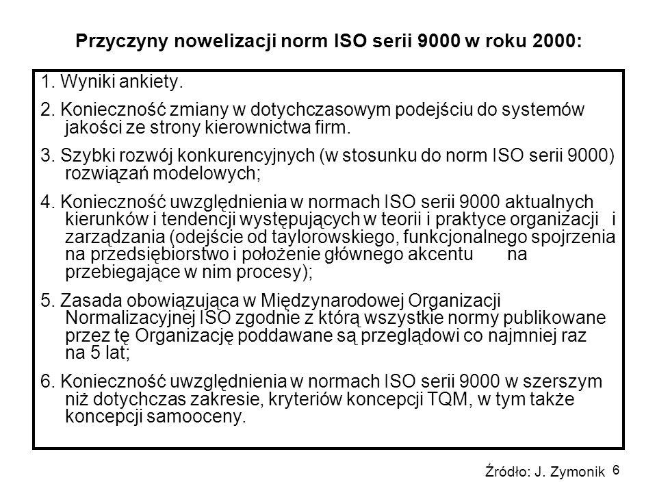 6 Przyczyny nowelizacji norm ISO serii 9000 w roku 2000: 1. Wyniki ankiety. 2. Konieczność zmiany w dotychczasowym podejściu do systemów jakości ze st