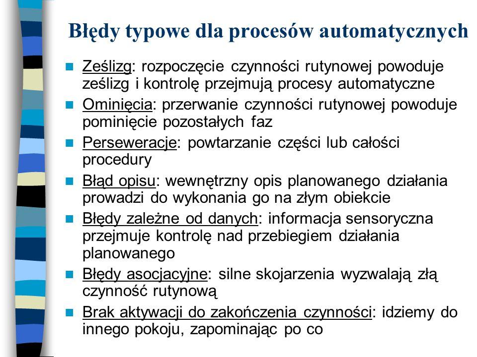 Błędy typowe dla procesów automatycznych Ześlizg: rozpoczęcie czynności rutynowej powoduje ześlizg i kontrolę przejmują procesy automatyczne Ominięcia