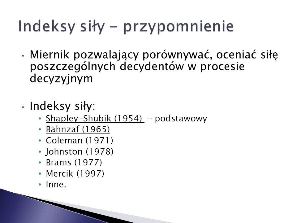 Miernik pozwalający porównywać, oceniać siłę poszczególnych decydentów w procesie decyzyjnym Indeksy siły: Shapley-Shubik (1954) - podstawowy Bahnzaf (1965) Coleman (1971) Johnston (1978) Brams (1977) Mercik (1997) Inne.