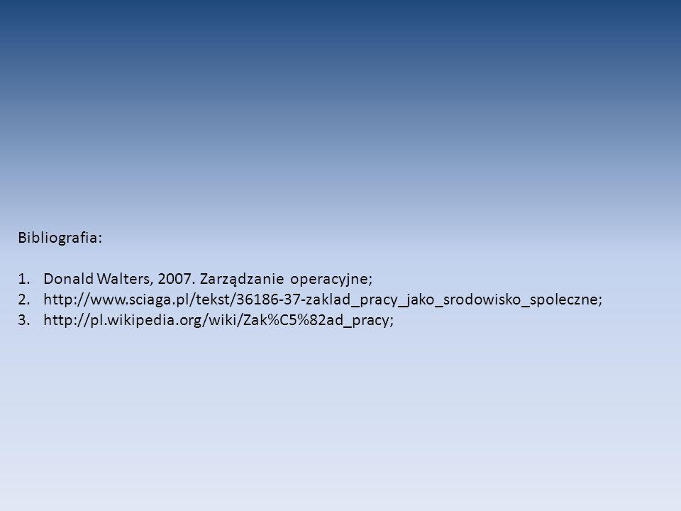 Bibliografia: 1.Donald Walters, 2007. Zarządzanie operacyjne; 2.http://www.sciaga.pl/tekst/36186-37-zaklad_pracy_jako_srodowisko_spoleczne; 3.http://p