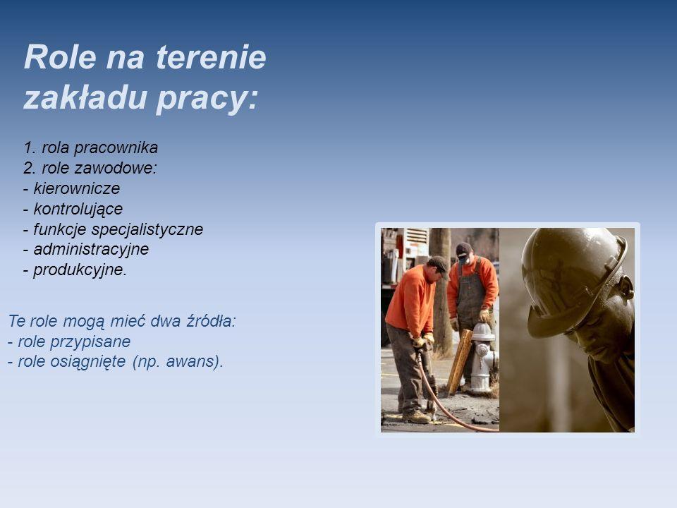 Role na terenie zakładu pracy: 1. rola pracownika 2. role zawodowe: - kierownicze - kontrolujące - funkcje specjalistyczne - administracyjne - produkc