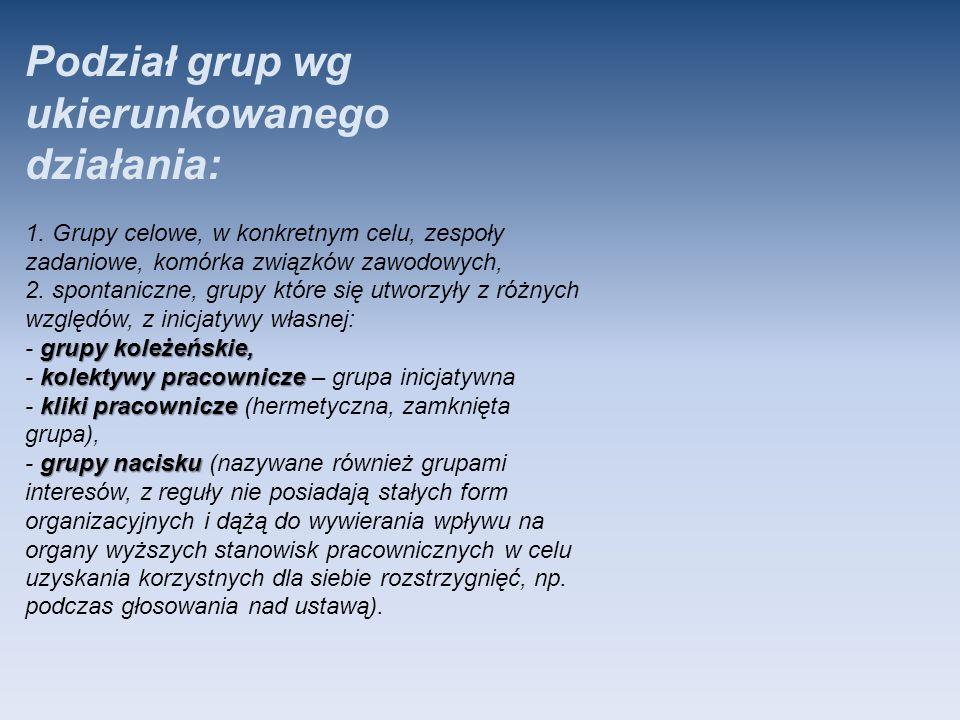 Podział grup wg ukierunkowanego działania: grupy koleżeńskie, kolektywy pracownicze kliki pracownicze grupy nacisku 1. Grupy celowe, w konkretnym celu